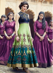 Navy Light  Green Banglori Silk Pure Hand Work Stitched Anarkali Suit