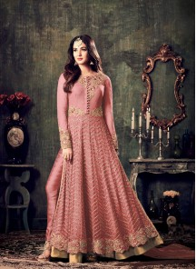 Gajari Net Embroidered Work Floor Length Anarkali Suit