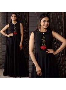 New Black Party Wear Black Reyon Ready-Made Designer Wear Gown