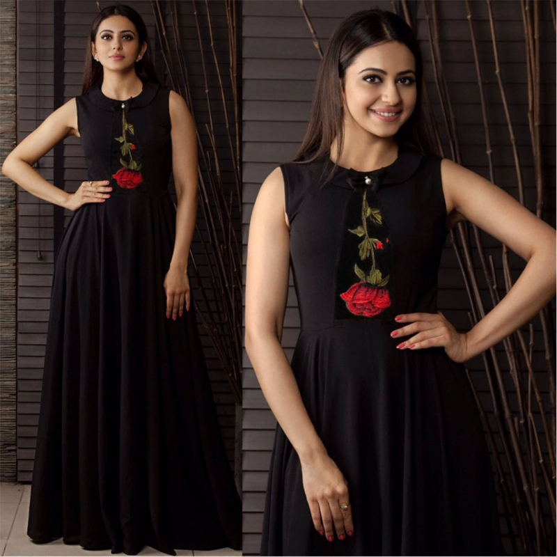 6df86474f2b New Black Party Wear Black Reyon Ready-Made Designer Wear Gown