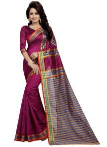 Noble Cotton Silk Marron Printed saree