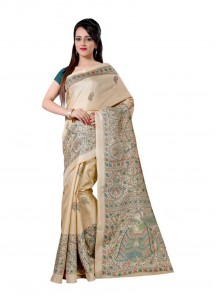 Noble Cream Bhagalpuri Silk Printed Saree