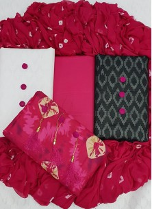 Noble Jacquard And Cambric Cotton Party Dress Material