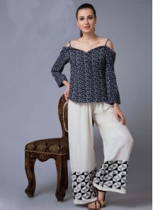 Nonle Embroidery Work Off White Reyon Palazzo  For Girls