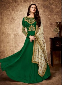 Observable Green Embroidered Georgette Floor Length Anarkali Suit