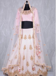 Observable Satin Pink Embroidered Work Lehenga Choli