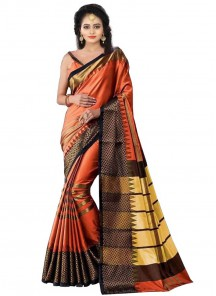 Orange Color Cotton Silk Printed Casual Saree