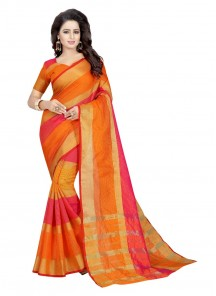 Orange Printed Cotton Casual Saree