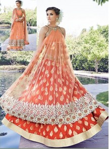 Orange Wedding Lehenga Style Anarkali Salwar Kameez