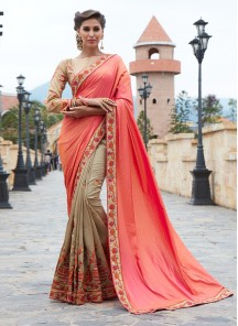 Orange With Beige Jacquard Silk Embroidery saree