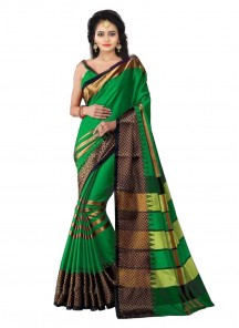 Orphic Green Cotton Silk Printed Casual Saree
