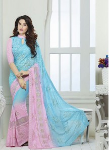 Orphic Silk  Pink And Turquoise Embroidered Work  Designer Saree