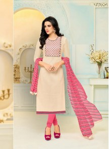 Outstanding Cream Chanderi Printed Salwar Kameez