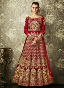 Outstanding Lace Work Maroon Mulberry Silk Floor Length Anarkali Suit