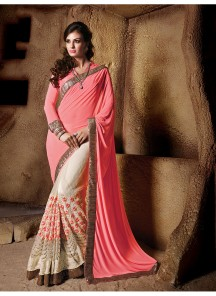 Outstanding Peach Patch Border Work Georgette Designer Saree