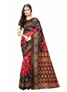 Outstanding Red Color Printed Bandhani Casual Saree
