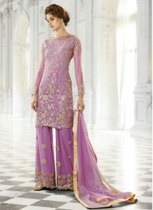 Amazing purple georgette Pant Style Suit