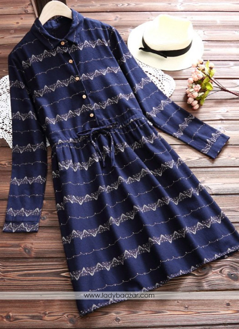 Paramount Navy Blue Digital Print Western Wear