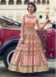 Peach Classic Banglori Silk Pure Hand Work Stitched Anarkali Suit