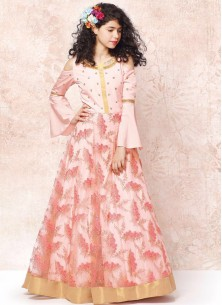 Peach Designer Net Party Wear Gown