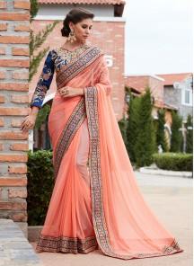 Peach Laykra Silk Valvet Work Embroidery Saree