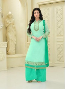 Peppy Green Faux Georgette Embroidery Work Palazzo Salwar Suit