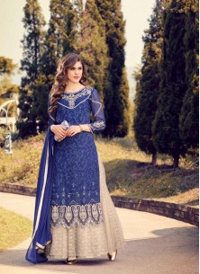 Peppy Navy Blue Embroidery Work Georgette Palazzo