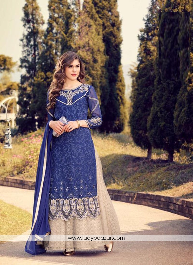 d748d12fbc0 Peppy Navy Blue Embroidery Work Georgette Palazzo Salwar Suit
