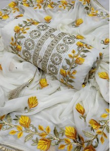 Perfect Chanderi Cotton White Embroidered Dress Material