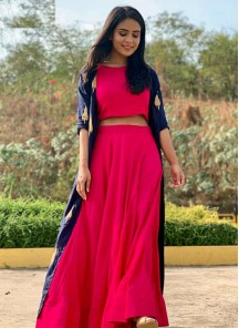 Perfervid Bangalori Silk Red And Blue Lehenga Choli