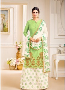 Perfervid Green Lawn Printed Palazzo Salwar Suit