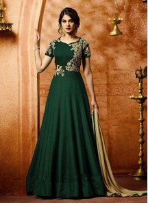 Picturesque Faux Georgette  Green Embroidered with Stone Work Anarkali Salwar Kameez