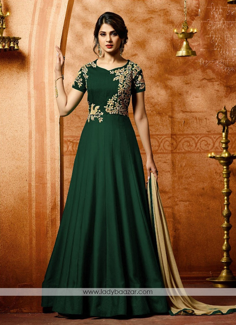 21ba9a18a3a Picturesque Faux Georgette Green Embroidered with Stone Work Anarkali  Salwar Kameez