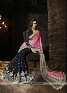 Pink And Black Georgette Half And Half Saree
