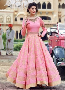 Pink Banglori Silk Pure Hand Work Stitched Anarkali Suit
