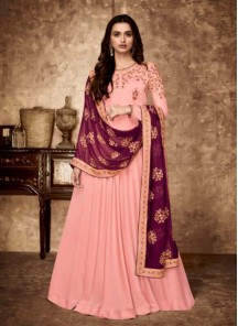 Pink Reception Floor Length Anarkali Suit
