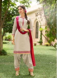 Piquant  Grey Cotton Embroidery Work Patiyala Suit