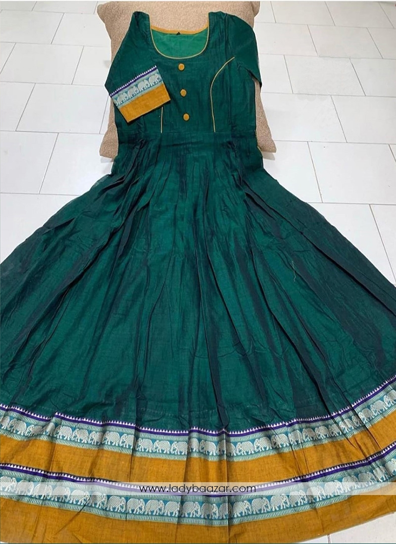 Pleasant Dark green Colored Partywear Printed Less Satin Silk Trendy Gown