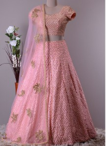 Preferable Heavy Work Embroidery Baby Pink Lehenga Choli