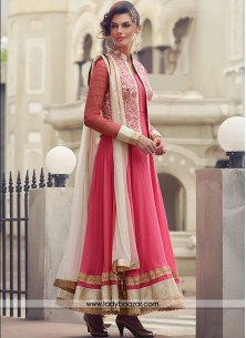 Prepossessing Embroidered Work Chanderi Hot Pink Anarkali Salwar Kameez