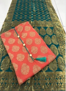 Pretty Banarasi Jacquard Orange And Teal Dress Mat