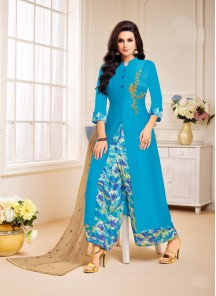 Pretty Blue Silk Printed Palazzo Salwar Suit