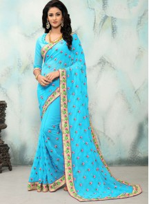 Pretty Embroidery Turquoise Georgette Designer Saree