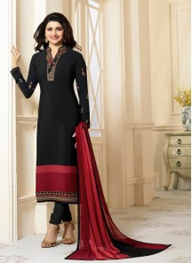 Prime Black Embroidery Work Crepe Salwar Suit