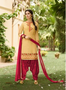 Prime Cream With Red Embroidery Work Salwar Kameez