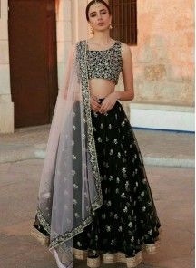 Prime Thread Embroidered Net black Lehenga Choli