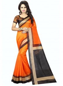 Princely Bhagalpuri Silk Orange Casual Saree