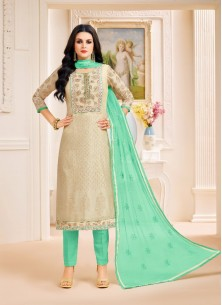 Princely Chanderi Silk Green With Cream Pant Style Suit