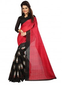 Print Bhagalpuri Silk Casual Saree In Red N Black Colour