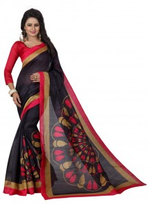 Print Bhagalpuri Silk Multi Color Casual Saree